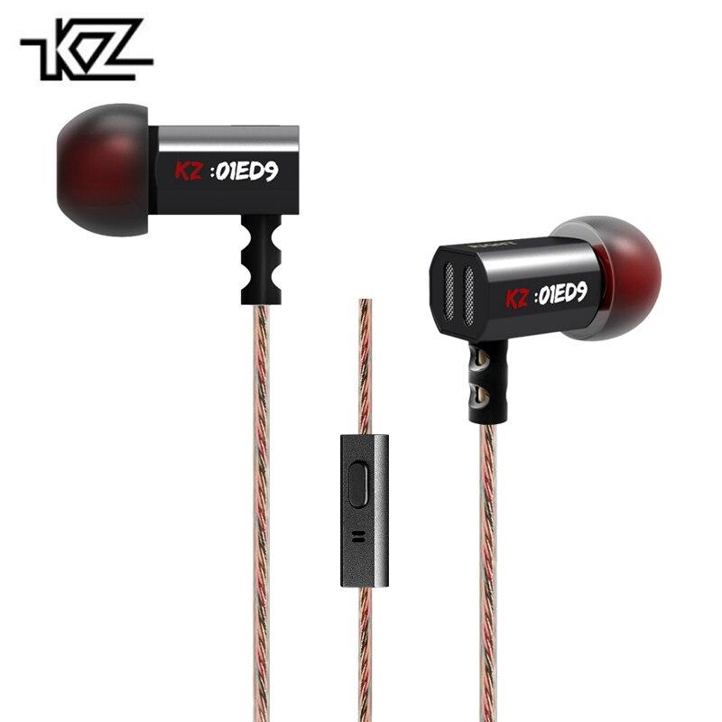 Originale KZ ED9 In Ear Auricolari Basso Pesante STEREO DJ Auricolare Stereo 3.5mm Dorato Metallo Auricolari Con Microfono fone de ouvido