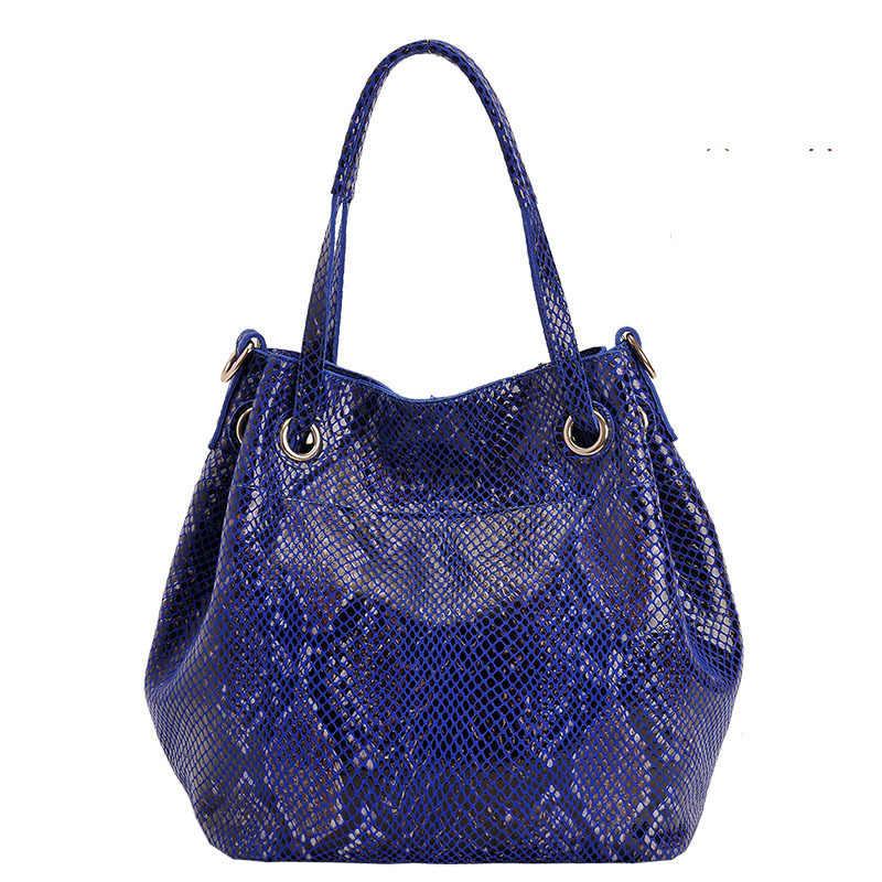 Bolso de mano de cuero genuino de serpiente de diseñador de lujo para Mujer