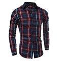 2016 outono inverno novo xadrez magro camisa de manga comprida moda chemise homme marca camisa camisa masculina