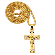 NYUK 10pcs/Lot Cross Men Gold Jesus Cross Jewelry Jesus Portrait Necklace Chain Women Christian Accessories Kedis Crucifix Gift
