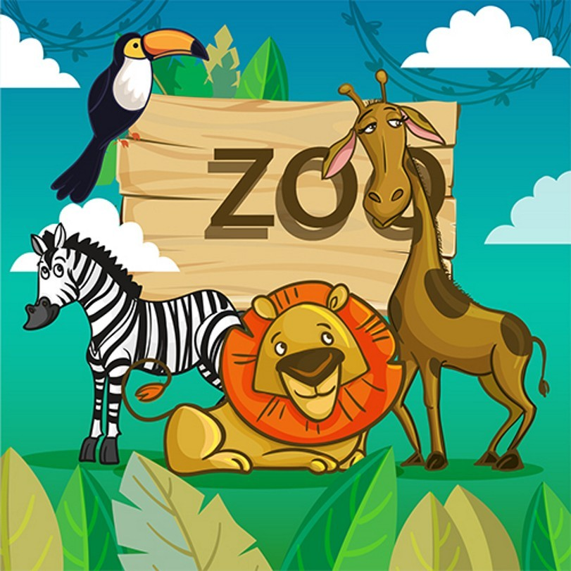 Cloud Leaves Zoo Animals Zebra Lion Giraffe Wood Background Vinyl cloth High quality Computer printed wall backdrop