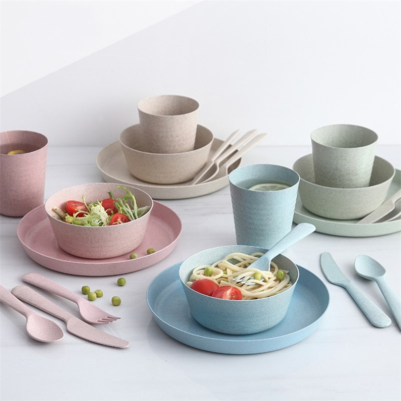 4 шт. портативный многоразовый бытовой комплект столовой посуды для детей взрослая Ложка Вилка чашка салатный суп миска блюдо с изображением пшеничного колоса соломенный набор столовой посуды для кухни|Столовые сервизы|   | АлиЭкспресс - Салатницы