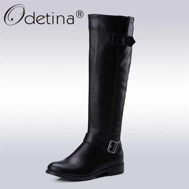 Odetina 2017 New Autumn Winter Womens Knee High Riding Boots Chunky Low  Heel Wide Calf Zipper and Buckle Half Boots Plus Size 43 91012dd4ba