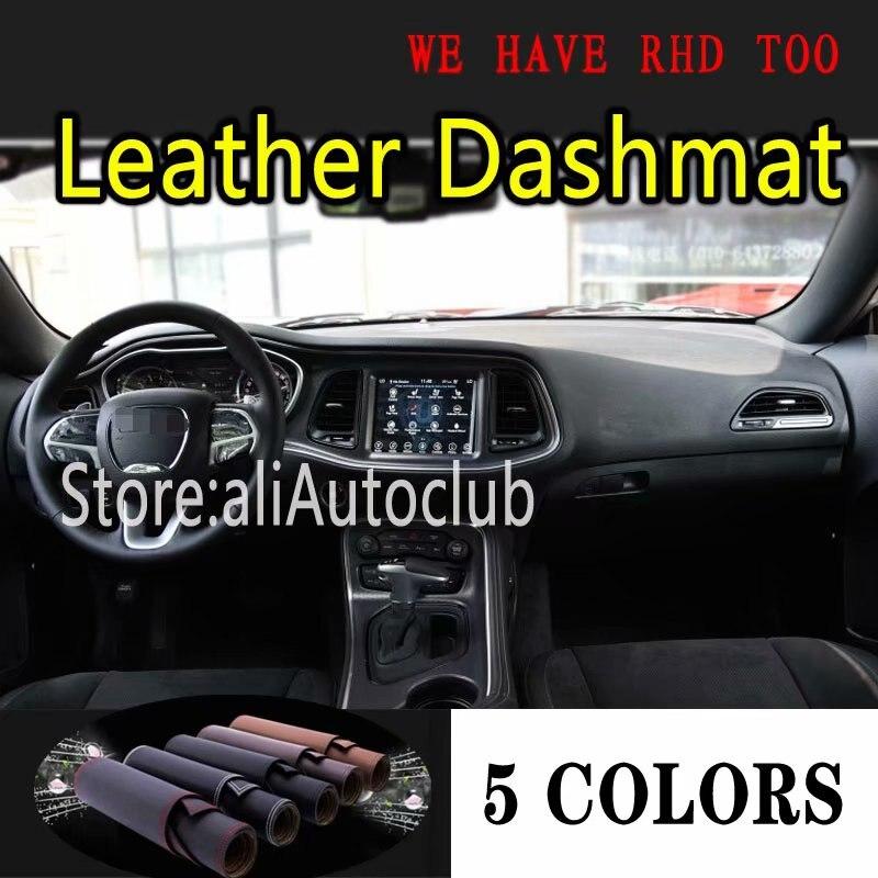 Pour Dodge Challenger 2015 2016 2017 2018 2019 2020 cuir Dashmat voiture style couvre Dash Mat tableau de bord tapis accessoires