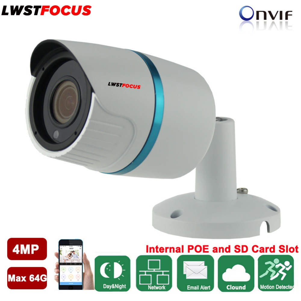 2.8/3.6mm Metal Outdoor Network Camera 4MP IR Bullet IP Camera POE CCTV Camera SD Card/TF Card Slot Hikvision private protocal outdoor waterproof white metal case 1080p bullet poe ip camera with ir led for day