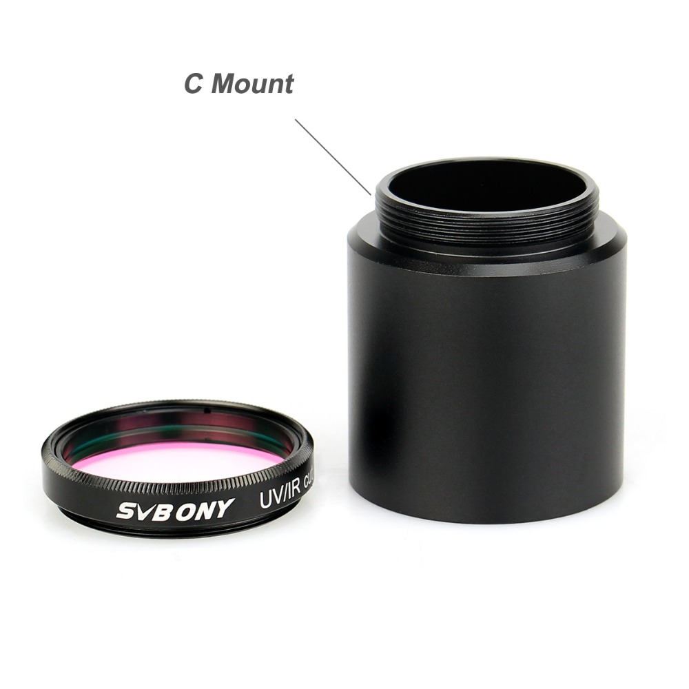 "Image 2 - 1.25'' UV/IR Cut Filter Telescope Optics Infra Red Filter CCD Camera w/ C Mount to 1.25"" Video Camera Barrel Adapter-in Monocular/Binoculars from Sports & Entertainment"