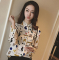 New 2016 summer style Fashion Color Turn Down Collar Shirt chiffon  Tops Female Long-sleeve Blouse Women Work Wear hot sale