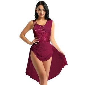 Image 2 - נשים מבוגרים שיפון בלט שמלת ספגטי רצועות שרוולים פאייטים סדיר מודרני ריקוד בלט התעמלות בגד גוף שמלה