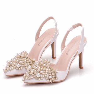 Image 5 - Crystal Queen Women Pumps 10CM High Heels Lace Pearl Elegant Heeled Sexy Pointed Slingbacks Wedding Party Dress Courtesy Shoes