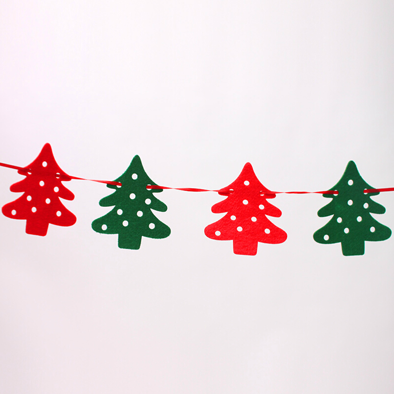 Us 5 55 Green And Red Christmas Reindeer Christmas Banners 1 9 Meters Felt Cloth Elk Pull Flag Bunting Christmas Tree Decorations 10 8cm In