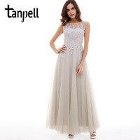 Tanpell Long Evening Dress Gray Scoop Neck Zipper Up Appliques Sleeveless Ankle Length Dress Cheap Backless