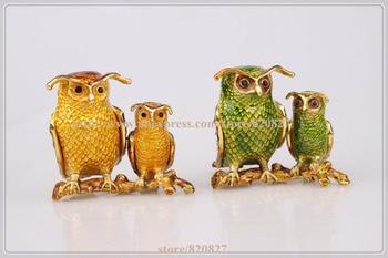 Night Owl on a Branch Figurine Keepsake Box Crystal Studded Jewelry Gift  Trinket