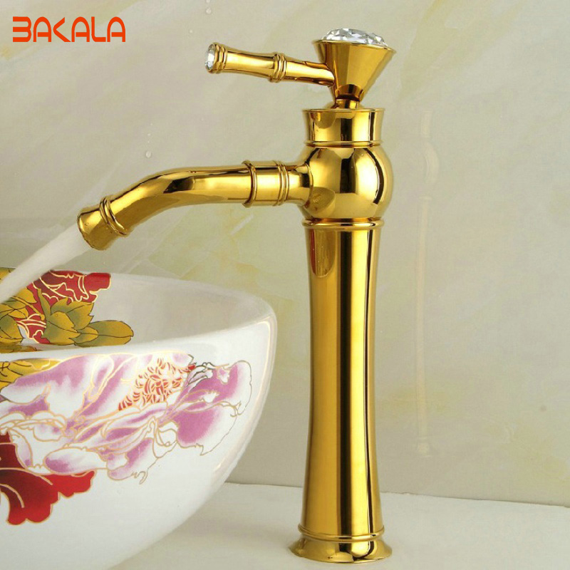 BAKALA brass and Diamond basin faucet Hot and cold tall high gold bathroom sink mixer tap B-1014M bakala copper hot and cold mixer water tap basin kitchen bathroom wash basin faucet g 8046