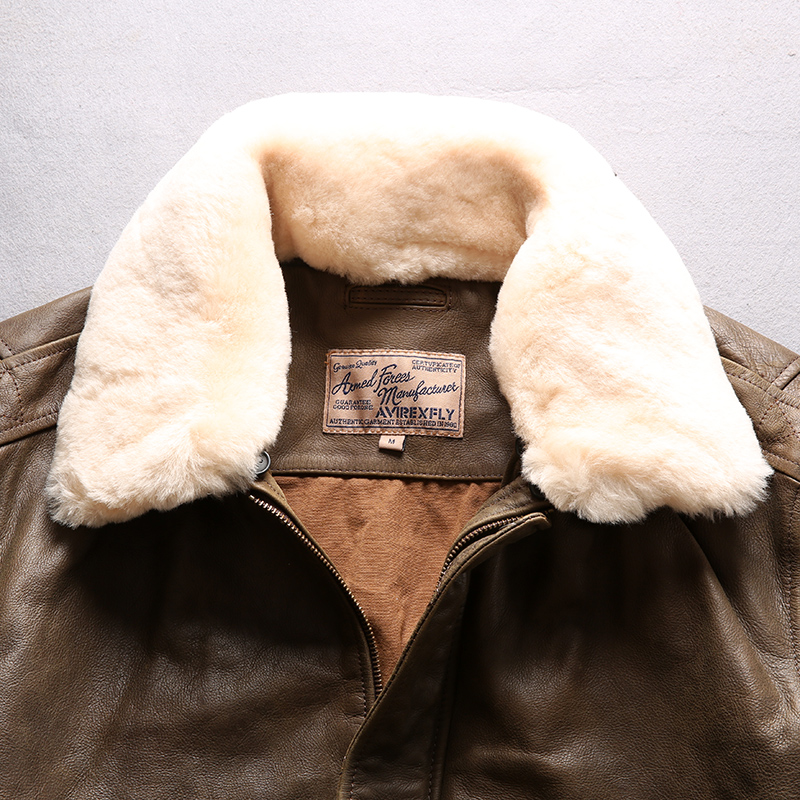 AVIREX FLY 2018 Genuine Leather jacket Men Bomber Jacket Fur Collar Cowskin Short Air Force Flight Jacke Vintage Winter Coat
