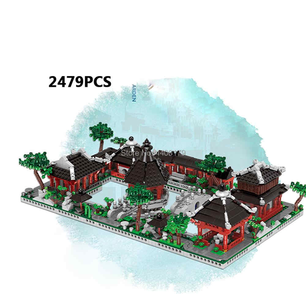 hot city creators Street view 6 in 1house Architecture drawing garden of Suzhou in China moc building blocks model toys for gift