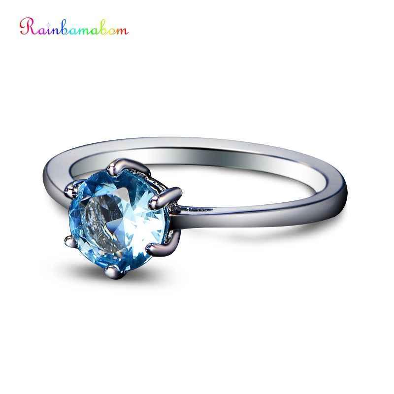 Rainfamabom высокое качество 925 Стерлинговое Серебро Аквамариновый изумруды пара кольцо на свадебный юбилей ювелирные изделия оптом Размер 5-12