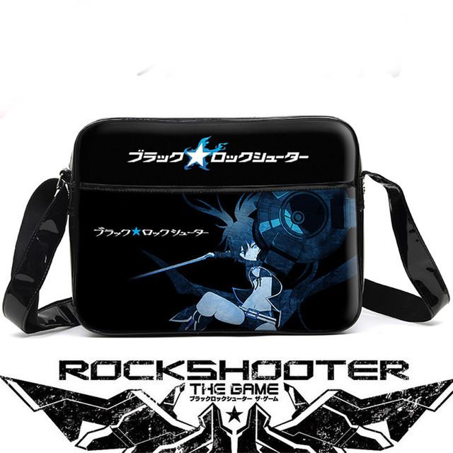 Black Rock Shooter Unisex Cartoon Anime Cosplay Messenger Bag Waterproof PU Men Women Schoolbag Shoulder Bags Free Shipping