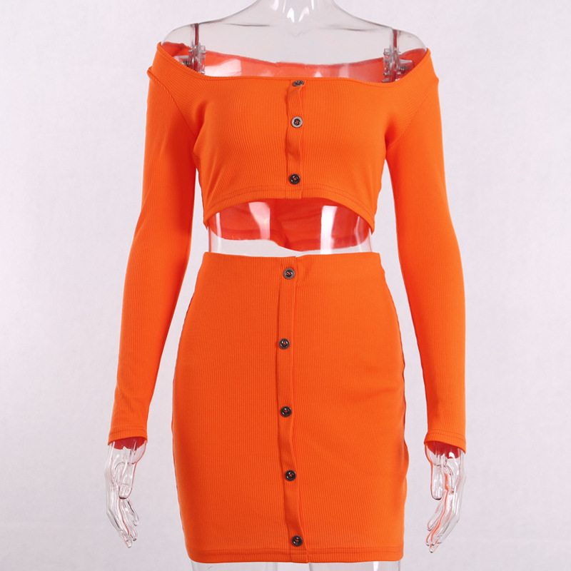 Fashion Outfits Bright Orange Women's Sets Buttons Long Sleeve Crop Tops Sexy Two Pieces Set Casual Bodycon Skirts 4