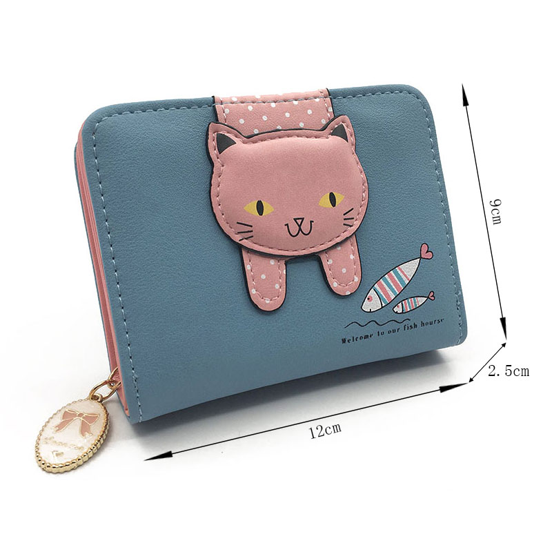 Women cute cat wallet small zipper girl wallet brand designed pu leather women coin purse female card holder wallet billetera 1