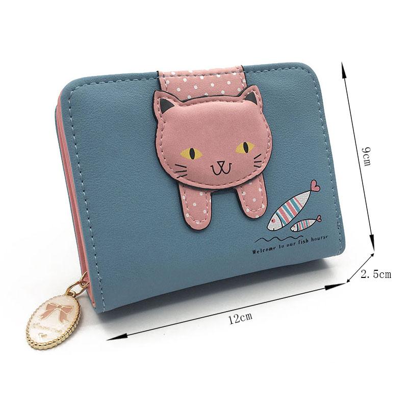 Women cute cat wallet small zipper girl wallet brand designed pu leather women coin purse female card holder wallet billetera 2
