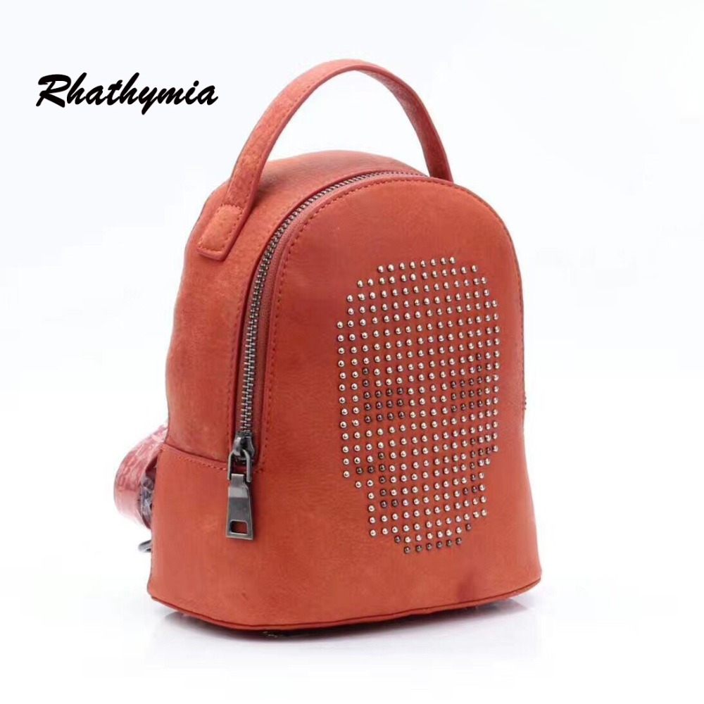 ФОТО 100% genuine leather Famous Brand Backpack Women mini Backpacks Solid Vintage Girls School Bags for Girls casual style