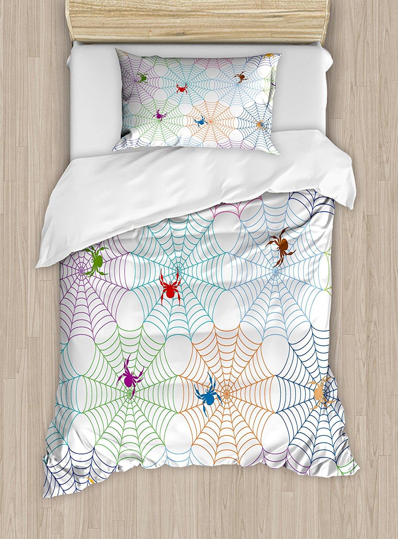 Spider Web Housse de Couette Ensemble Coloré Réseaux et Caractères Tuile Conception Graphique Art Résumé Mignon Insectes 4 Pièce Ensemble de Literie