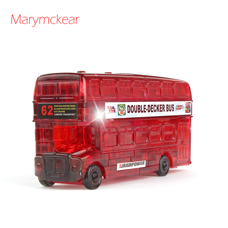 Double-decker Bus Crystal Puzzle 3d Puzzle Bricolage Enfant Transportation Puzzles Baby Puzzle Game Gift for Children