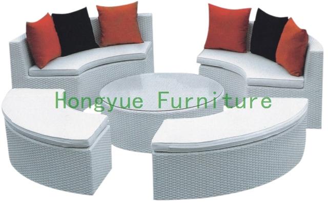 Exterior redonda de ratán sofá seccional con el amortiguador, muebles de jardín