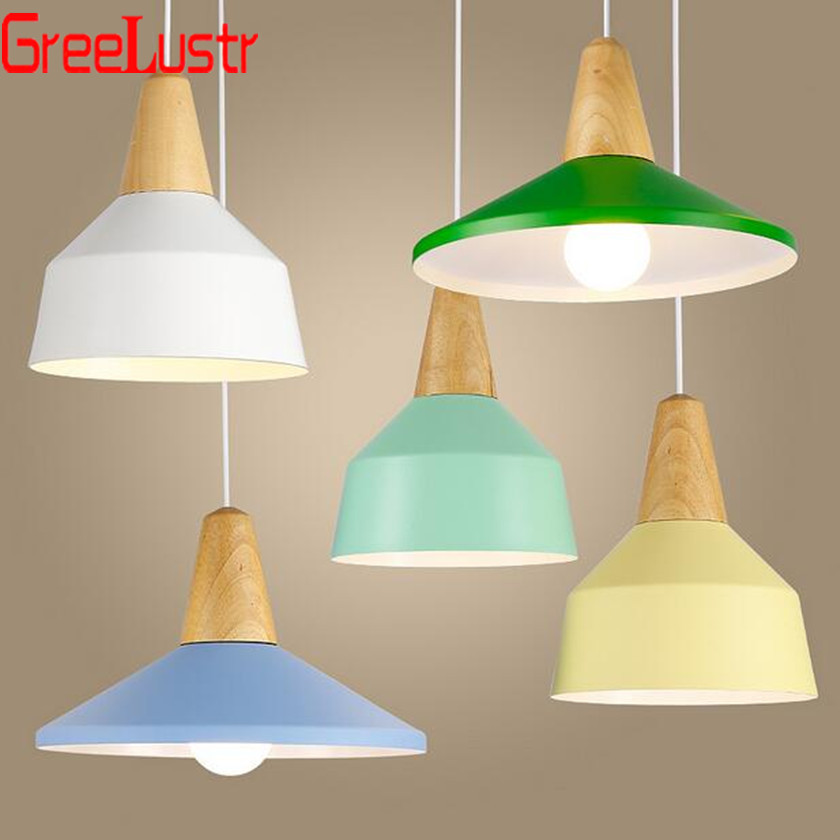Lustres e Luminarias LED Pendant Lights Hanglamp Colorful wood Pendant Hanging Light For Home Decor Abajur Suspenso Avize LusterLustres e Luminarias LED Pendant Lights Hanglamp Colorful wood Pendant Hanging Light For Home Decor Abajur Suspenso Avize Luster