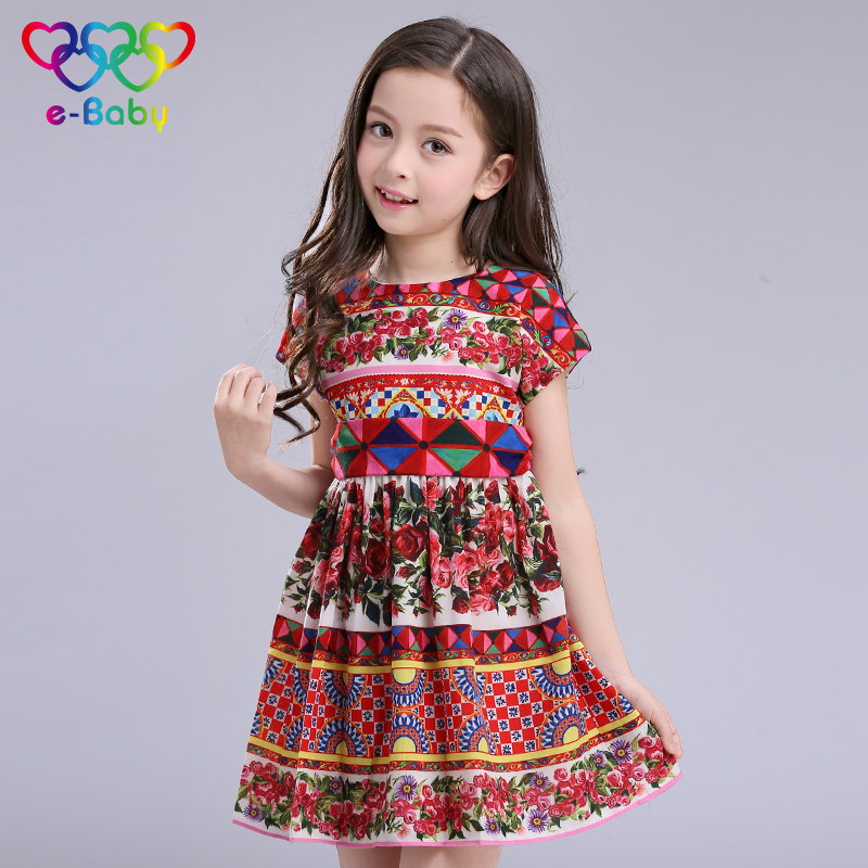 Подробнее о 2017 New girls dresses bohemian print kids girl dress casual o-neck girl clothes 3-12Y brand E-BABY children costumes EB615 baby girls dresses brand princess dress girl clothes kids dresses children costumes 3 14 years old