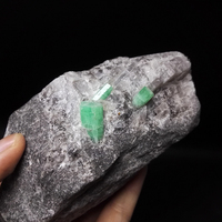 715g NATURAL Stones and Minerals Rock Emerald green symbiosis with quartz crystal gem stone ore sample collection ZML0 01