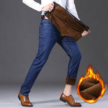 Autumn Winter Men Stretch Jeans Thick Fleece Smart Causal Fashion Business Denim Warm Pant Man High Quality Plus Size  Jean