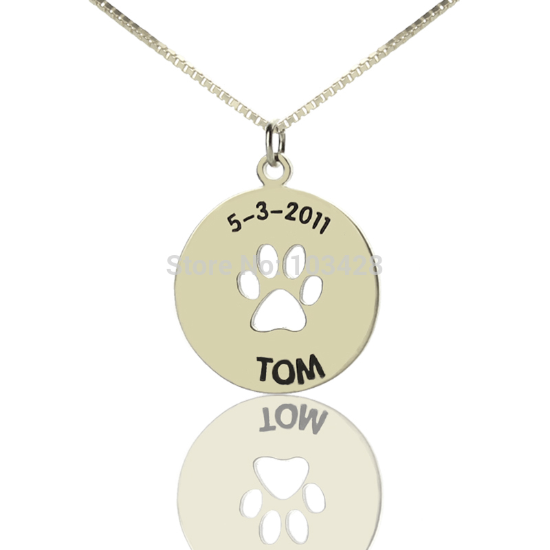 Children name bar necklace personalized dog paw necklace sterling children name bar necklace personalized dog paw necklace sterling silver monogram pendant cute charm for baby birthday gift in chain necklaces from jewelry aloadofball Images