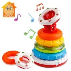 Brinquedos educativos arco-íris anel com luz som criança quebra-cabeças empilhamento copo bebê nidificação torre classificadores construtor para crianças