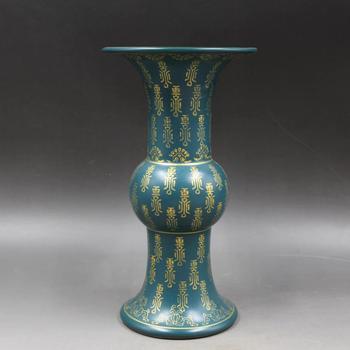 Yong Zheng made turquoise glaze vase Wanshou antique porcelain bottle Home Furnishing retro ornaments