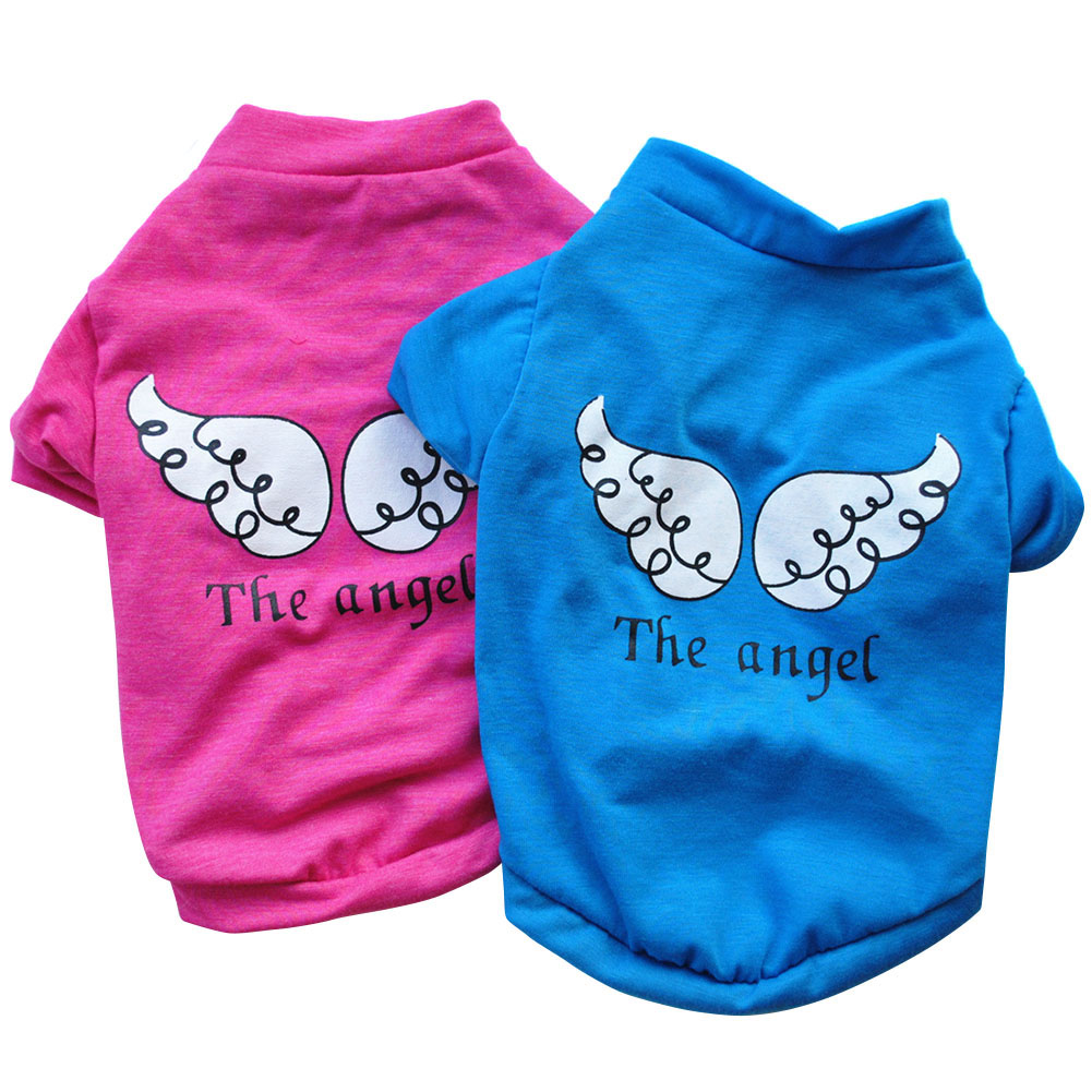 Puppy Pet Dog Clothes Cute Cotton Short Sleeve T-Shirt Angel Wing Pattern Pet Clothes LBShipping