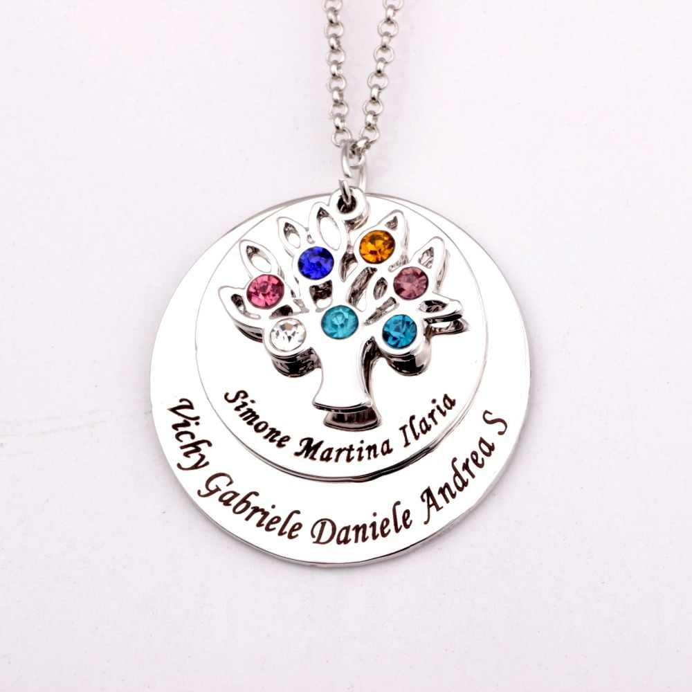 Filigree Family Tree Pendant Necklace  with Birthstones  Birthstones Long Necklaces Jewelry Custom Made Any Name YP2548
