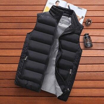 2019 Winter Jacket Men High Quality Vest Jacket Mens Brand Autumn Solid Sleeveless Jacket Male Warm Waistcoat Men Plus Size 5XL 1
