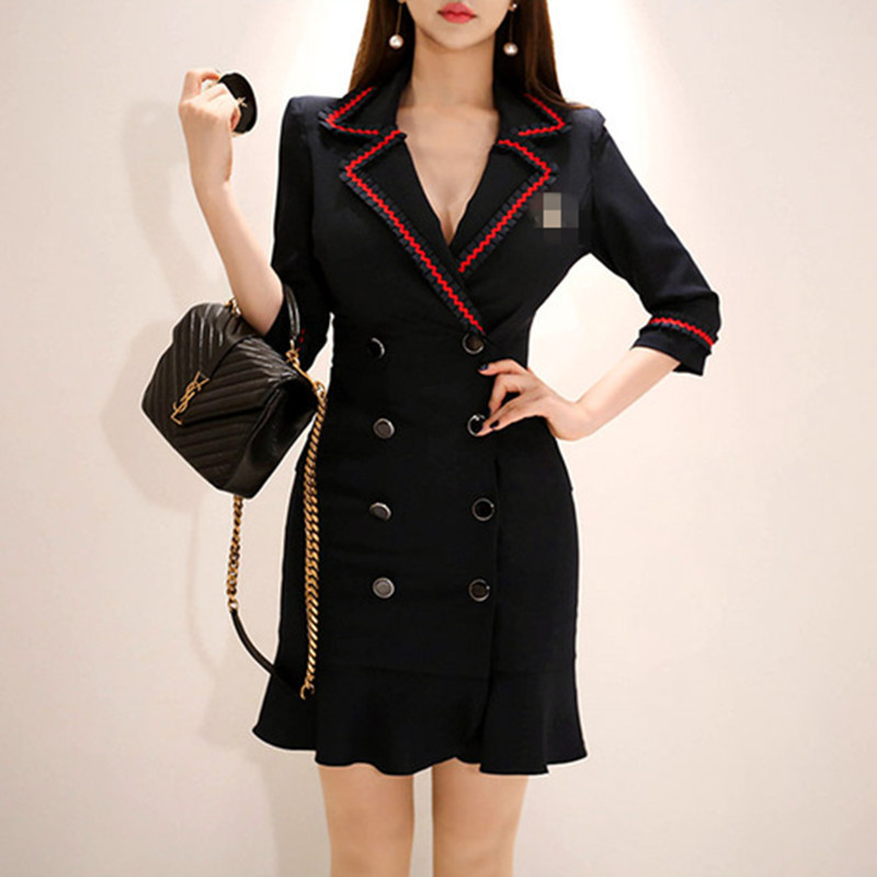High Quality Woman Blazer Formal Dress For Work Summer Double breasted Ruffles Three Quarter Sleeve Black Mini Dresses-in Dresses from Women's Clothing on AliExpress - 11.11_Double 11_Singles' Day 1