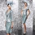 Venda quente 2015 Elegante Verde Hortelã Curto Na Altura Do Joelho Renda Mãe Da Noiva Vestidos Com Jacket (MO8119)
