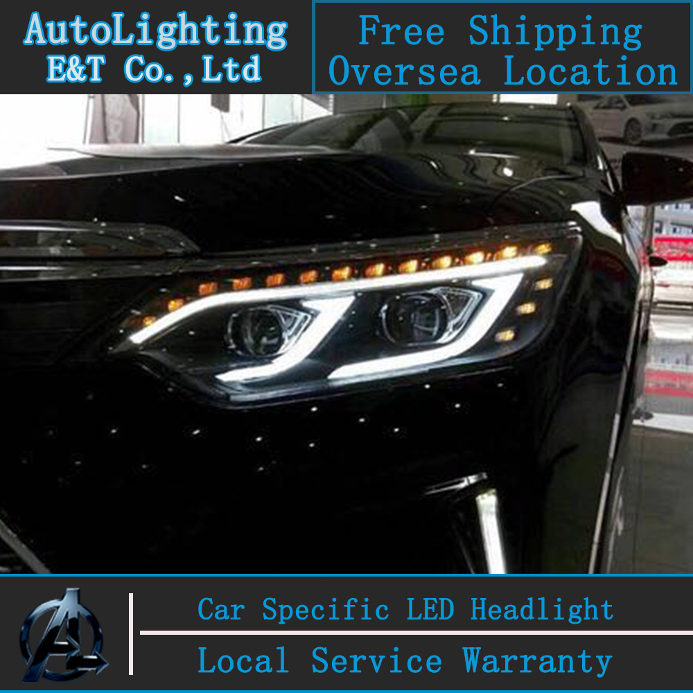 Car Styling New Arrival Headlight for Toyota Camry headlight assembly 2015 Camry LED Headlight led drl H7 with hid kit 2 pcs. car styling new arrival headlight for