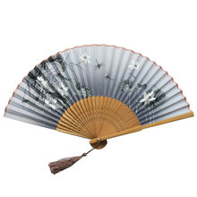 Folding Fans Handheld Fans Bamboo Fans Women's Hollowed Bamboo Hand Holding Fan NEW ARRIVED #JULY 0708(China)