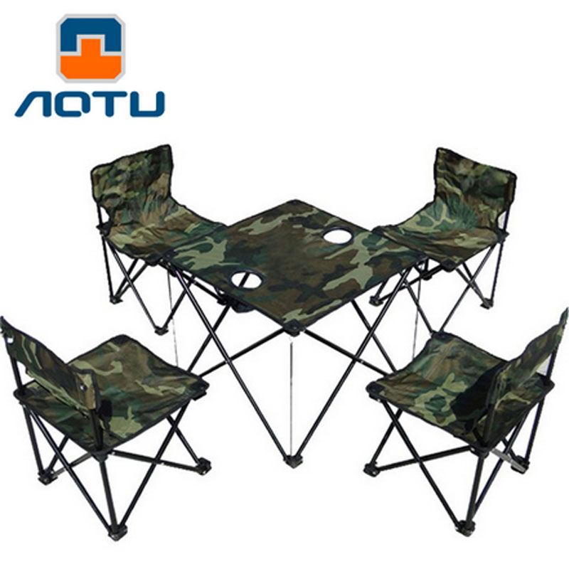 4 chairs + 1 table Camouflage Outdoor Ultralight portable folding tables and chairs Fishing Chair Camping Picnic Beach Chair the new portable outdoor folding table chairs aluminum suitcase suit