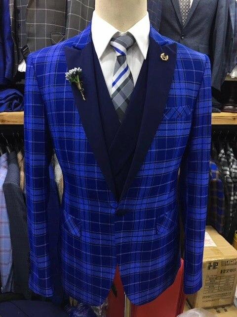 b88b9c946d Men Suit Plaid Square Wedding Suits Slim Fit 3 Pieces Tuxedo Groom  Groomsman best man Business