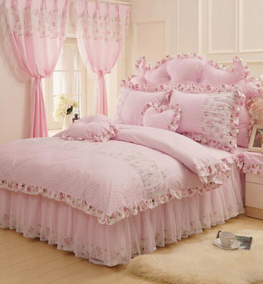 Cotton rustic pink green flower bedding setteen girl full