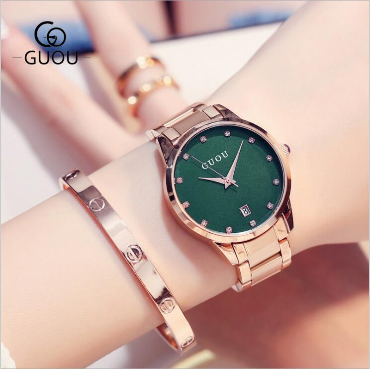 GUOU Watch Women Luxury Rose Gold Ladies Watch Auto Date Full Steel Quartz Watch Wristwatch saat relogio feminino reloj mujer guou watch women luxury rose gold ladies watch auto date full steel quartz watch wristwatch fashion reloj mujer relogio feminino