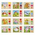 Tangram de madera/tarjeta rompecabezas animal de la historieta juguetes rompecabezas de madera para niños niños educativo de aprendizaje temprano educación juguetes