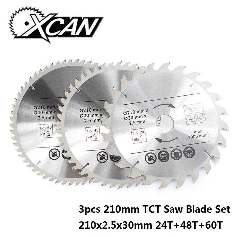 XCAN 3pcs 210mm TCT Saw Blade Set 24T/48T/60T Multifunction Wood Cutting Disc Wood Circular Saw Blade
