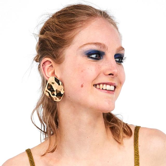 Golden Metal Big Stud Earrings
