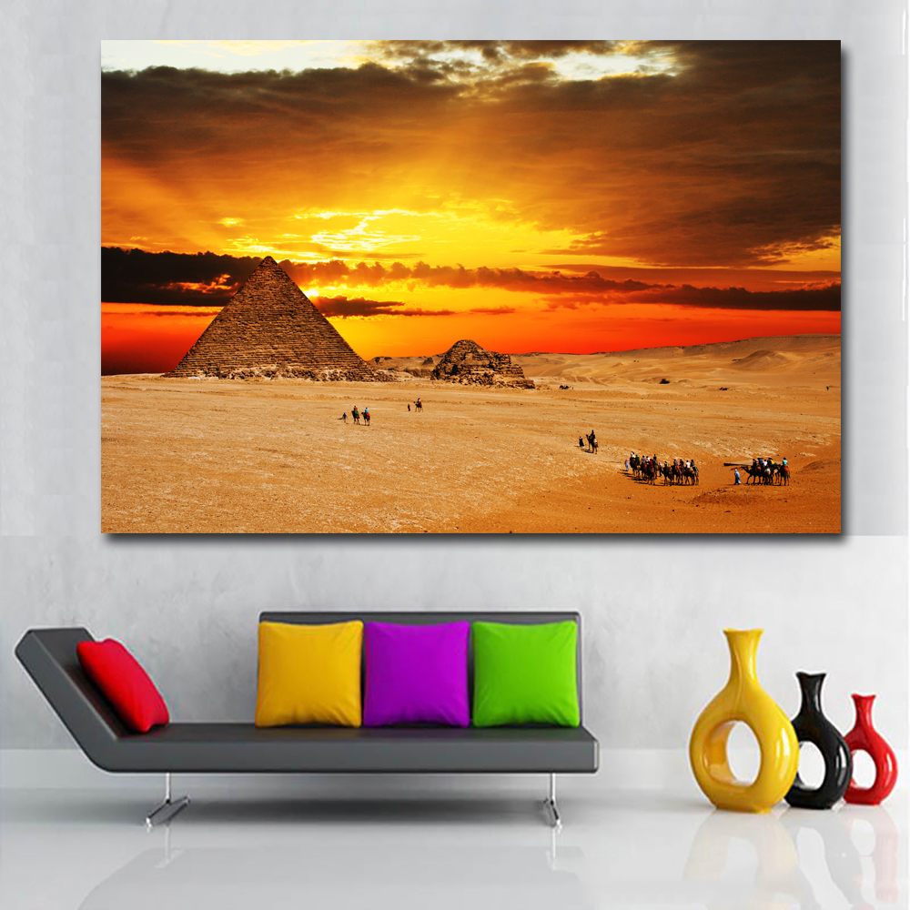 1 Pcs Sunrise Desert Pyramid Landscape Wall Picture Posters And Prints Wall Art Canvas Painting For Living Room No Frame